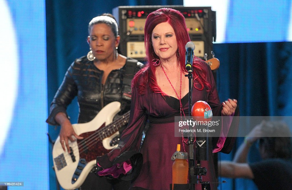 Musician <a gi-track='captionPersonalityLinkClicked' href=/galleries/search?phrase=Kate+Pierson&family=editorial&specificpeople=213573 ng-click='$event.stopPropagation()'>Kate Pierson</a> of the B-52's performs during the 'B-52's With the Wild Crowd' panel during the PBS portion of the 2012 Winter TCA Tour held at The Langham Huntington Hotel and Spa on January 4, 2012 in Pasadena, California.