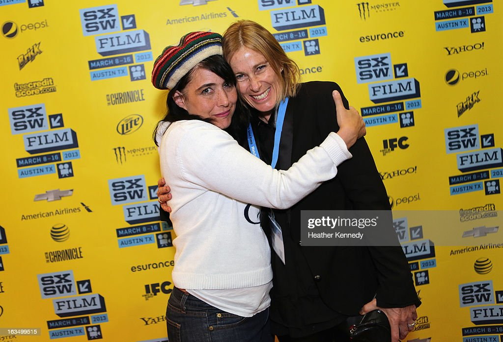 Musician <a gi-track='captionPersonalityLinkClicked' href=/galleries/search?phrase=Kathleen+Hanna&family=editorial&specificpeople=591982 ng-click='$event.stopPropagation()'>Kathleen Hanna</a> and producer Tamra Davis pose in the greenroom at the screening of 'The Punk Singer' during the 2013 SXSW Music, Film + Interactive Festival at Austin Convention Center on March 10, 2013 in Austin, Texas.
