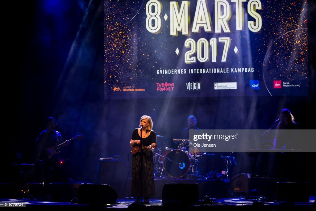 Musician Katinka and her band perform on stage at The International Women's Day celebration at Vega on March 8, 2017 in Copenhagen, Denmark.
