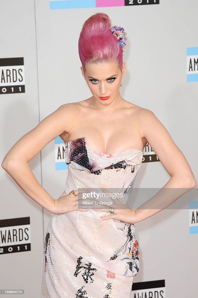Musician <a gi-track='captionPersonalityLinkClicked' href=/galleries/search?phrase=Katy+Perry&family=editorial&specificpeople=599558 ng-click='$event.stopPropagation()'>Katy Perry</a> arrives for the 2011 American Music Awards held at Nokia Theater at L.A. Live on November 20, 2011 in Los Angeles, California.