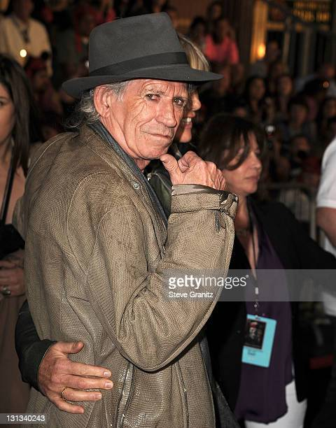 Musician Keith Richards and model Patti Hansen arrives at the 'Pirates Of The Caribbean On Stranger Tides' World Premiere at Disneyland on May 7 2011...