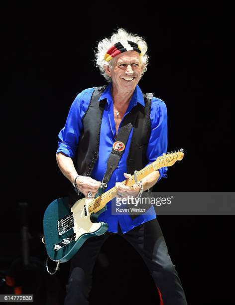 Musician Keith Richards of The Rolling Stones of The Rolling Stones performs during Desert Trip at the Empire Polo Field on October 14 2016 in Indio...