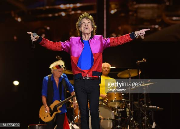 Musician Keith Richards singer Mick Jagger and musician Charlie Watts of The Rolling Stones perform during Desert Trip at the Empire Polo Field on...