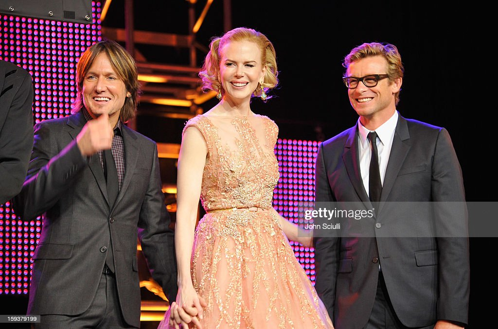 Musician Keith Urban, actors Nicole Kidman and Simon Baker onstage during the 2013 G'Day USA Los Angeles Black Tie Gala at JW Marriott Los Angeles at L.A. LIVE on January 12, 2013 in Los Angeles, California.