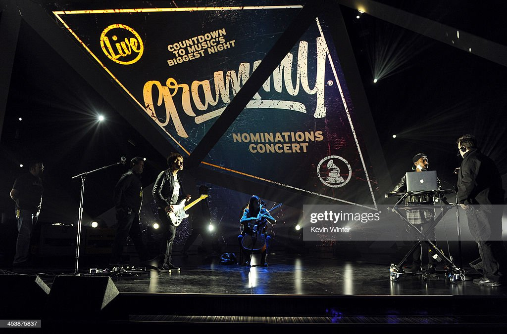 Musician <a gi-track='captionPersonalityLinkClicked' href=/galleries/search?phrase=Keith+Urban&family=editorial&specificpeople=202997 ng-click='$event.stopPropagation()'>Keith Urban</a> (L) and recording artist Miguel perform onstage during the rehearsals for The GRAMMY Nominations Concert Live!! Countdown to Music's Biggest Night at Nokia Theatre L.A. Live on December 5, 2013 in Los Angeles, California.