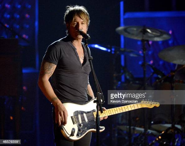 Musician Keith Urban performs onstage during the 56th GRAMMY Awards at Staples Center on January 26 2014 in Los Angeles California