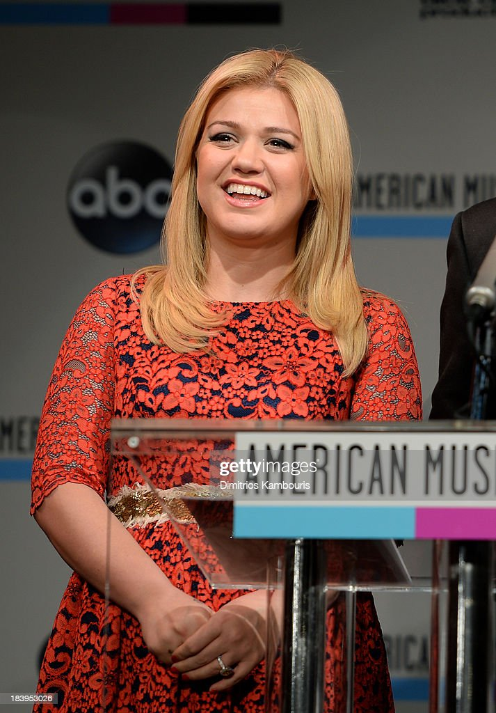 Musician <a gi-track='captionPersonalityLinkClicked' href=/galleries/search?phrase=Kelly+Clarkson&family=editorial&specificpeople=201555 ng-click='$event.stopPropagation()'>Kelly Clarkson</a> speaks onstage at the 2013 American Music Awards Nominations Press Conference at B.B. King Blues Club & Grill on October 10, 2013 in New York City.