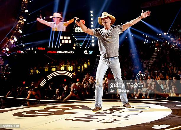 Musician Kenny Chesney performs onstage at the 2015 iHeartRadio Music Festival at MGM Grand Garden Arena on September 18 2015 in Las Vegas Nevada