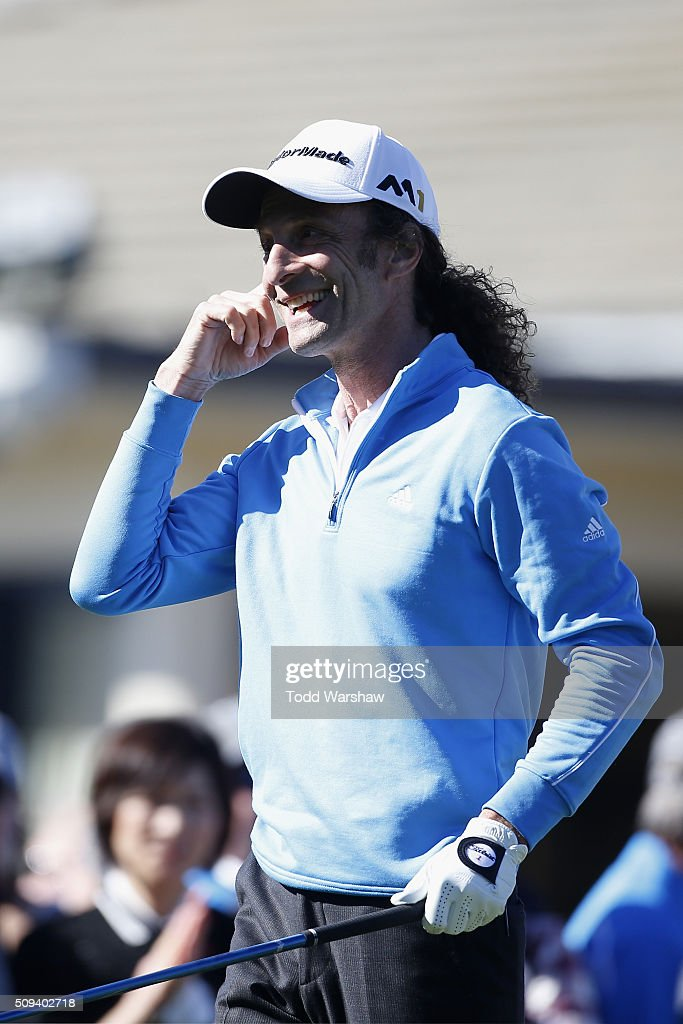 Musician <a gi-track='captionPersonalityLinkClicked' href=/galleries/search?phrase=Kenny+G&family=editorial&specificpeople=211357 ng-click='$event.stopPropagation()'>Kenny G</a> reacts after teeing off on the 1st hole during the 3M Celebrity Challenge prior to the AT&T Pebble Beach National Pro-Am at Pebble Beach Golf Links on February 10, 2016 in Pebble Beach, California.