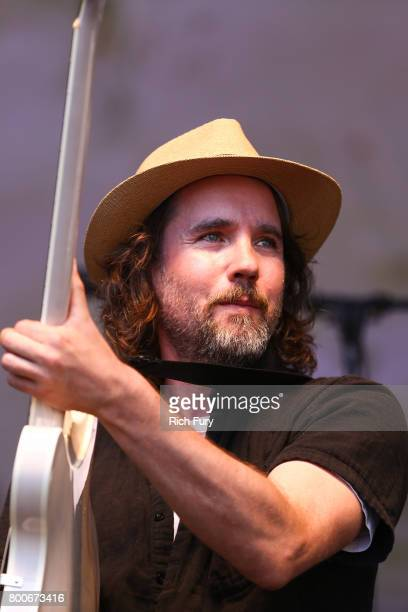 Musician Kevin Drew of musical group Broken Social Scene performs on the Sycamore stage during Arroyo Seco Weekend at the Brookside Golf Course at on...