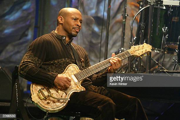 Musician Kevin Eubanks performs on 'The Tonight Show with Jay Leno' at the NBC Studios on February 21 2003 in Burbank California