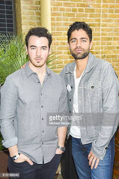 Musician Kevin Jonas and Actor Adrian Grenier pose for portait at Brand Innovators at SXSW on March 12 2016 in Austin Texas