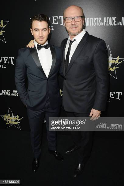 Musician Kevin Jonas and writer/producer Paul Haggis attend the 7th Annual Hollywood Domino and Bovet 1822 Gala benefiting artists for peace and...