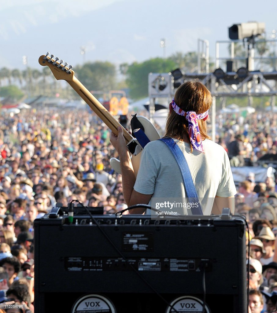 Musician Kevin Parker of Tame Impala performs during Day 1 of the Coachella Valley Music Arts Festival 2011 held at the Empire Polo Club on April 15...