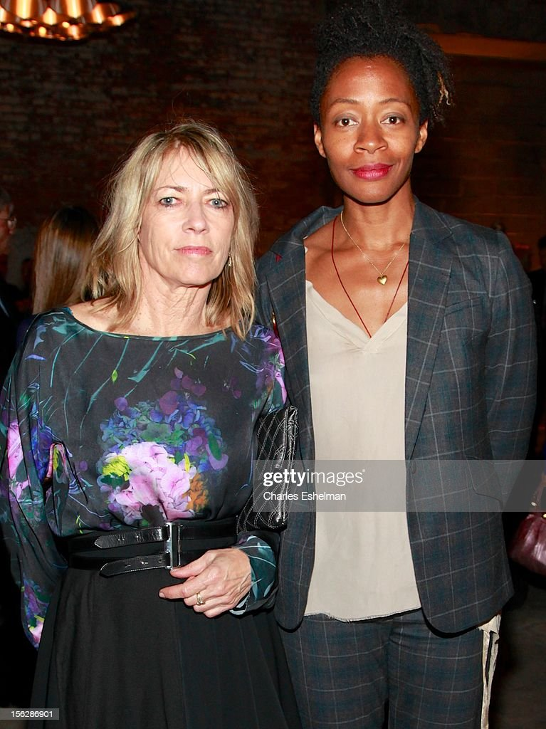 Musician <a gi-track='captionPersonalityLinkClicked' href=/galleries/search?phrase=Kim+Gordon&family=editorial&specificpeople=683747 ng-click='$event.stopPropagation()'>Kim Gordon</a> and rtist Kara Walker attend the 2012 Dia Art Foundation's Gala at Dia Art Foundation on November 12, 2012 in New York City.