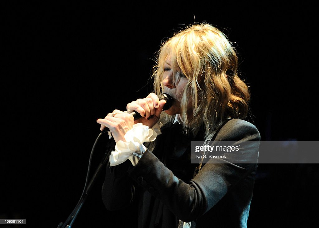 Musician <a gi-track='captionPersonalityLinkClicked' href=/galleries/search?phrase=Kim+Gordon&family=editorial&specificpeople=683747 ng-click='$event.stopPropagation()'>Kim Gordon</a> performs on stage during Life Along The Borderline: A Tribute To Nico at BAM on January 16, 2013 in New York City.
