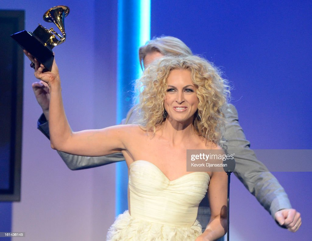 Musician Kimberly Schlapman of Little Big Town accepts Best Country Duo/Group Performance for 'Pontoon' onstage at the The 55th Annual GRAMMY Awards at Nokia Theatre on February 10, 2013 in Los Angeles, California.