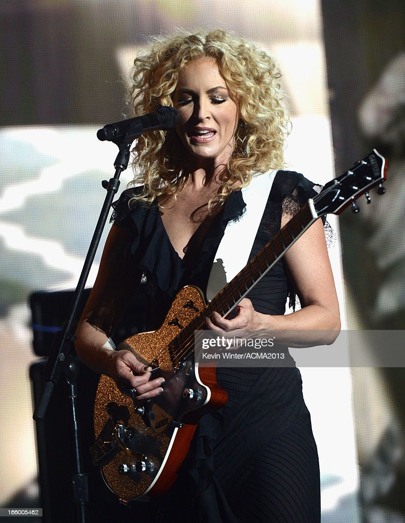 Musician Kimberly Schlapman of the music group Little Big Town performs onstage during the 48th Annual Academy of Country Music Awards at the MGM Grand Garden Arena on April 7, 2013 in Las Vegas, Nevada.