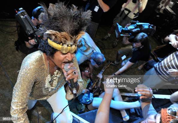 Musician King Khan of the band King Khan and the Shrines performs during day 3 of the Coachella Valley Music Art Festival 2010 held at The Empire...