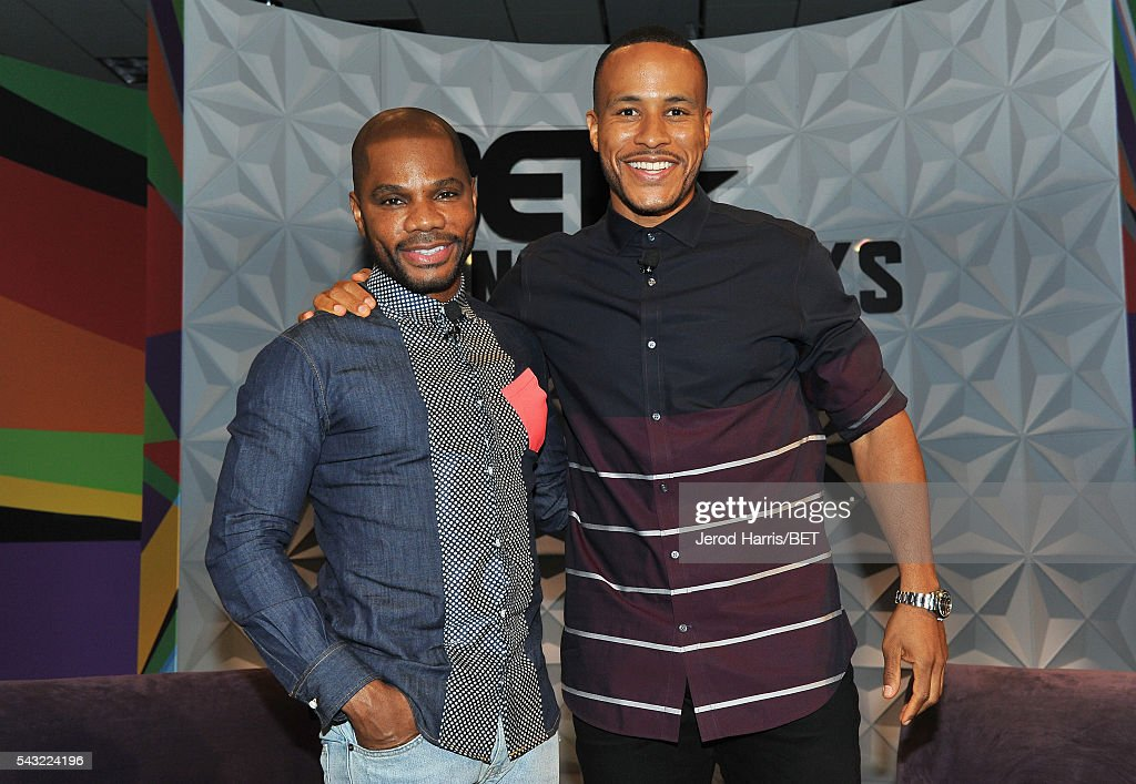Musician <a gi-track='captionPersonalityLinkClicked' href=/galleries/search?phrase=Kirk+Franklin&family=editorial&specificpeople=779291 ng-click='$event.stopPropagation()'>Kirk Franklin</a> (L) and author <a gi-track='captionPersonalityLinkClicked' href=/galleries/search?phrase=DeVon+Franklin&family=editorial&specificpeople=7590117 ng-click='$event.stopPropagation()'>DeVon Franklin</a> speak during the 2016 BET Experience at Los Angeles Convention Center on June 26, 2016 in Los Angeles, California.