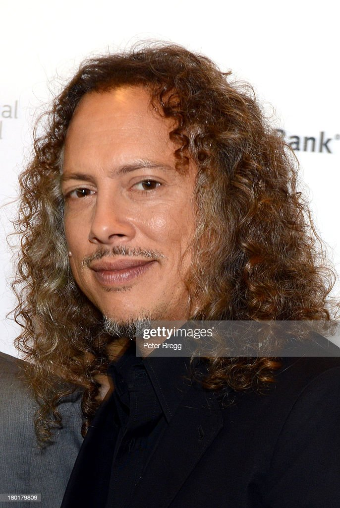 Musician <a gi-track='captionPersonalityLinkClicked' href=/galleries/search?phrase=Kirk+Hammett&family=editorial&specificpeople=204665 ng-click='$event.stopPropagation()'>Kirk Hammett</a> arrives at the 'Metallica: Through The Never' Premiere during 2013 Toronto International Film Festival at Scotiabank Theatre on September 9, 2013 in Toronto, Canada.