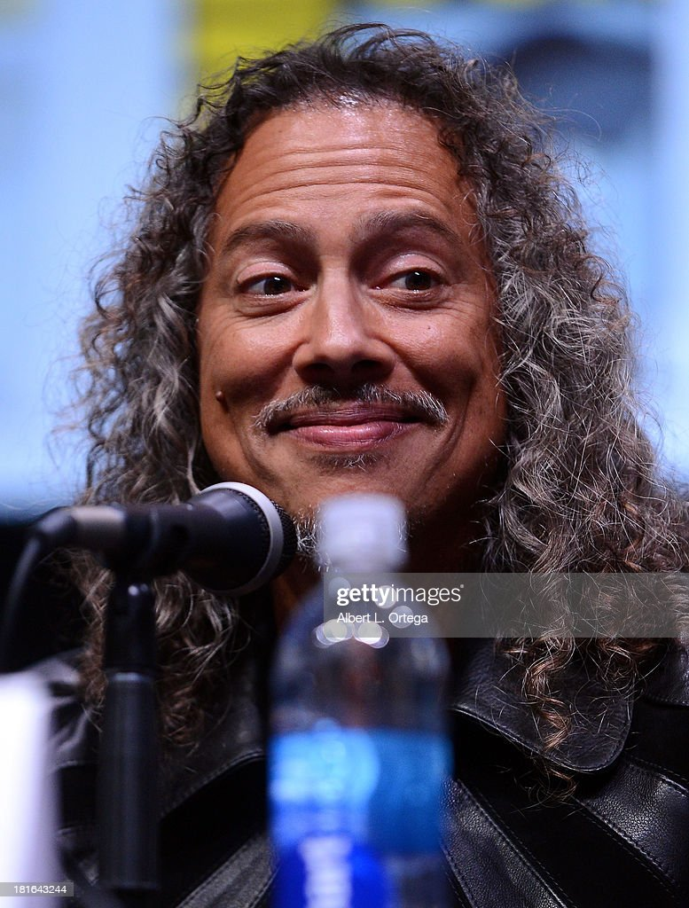 Musician <a gi-track='captionPersonalityLinkClicked' href=/galleries/search?phrase=Kirk+Hammett&family=editorial&specificpeople=204665 ng-click='$event.stopPropagation()'>Kirk Hammett</a> attends At The Drive-In With Metallica's 'Through The Never' as part of Comic-Con International 2013 held at San Diego Convention Center on Friday July 19, 2012 in San Diego, California.