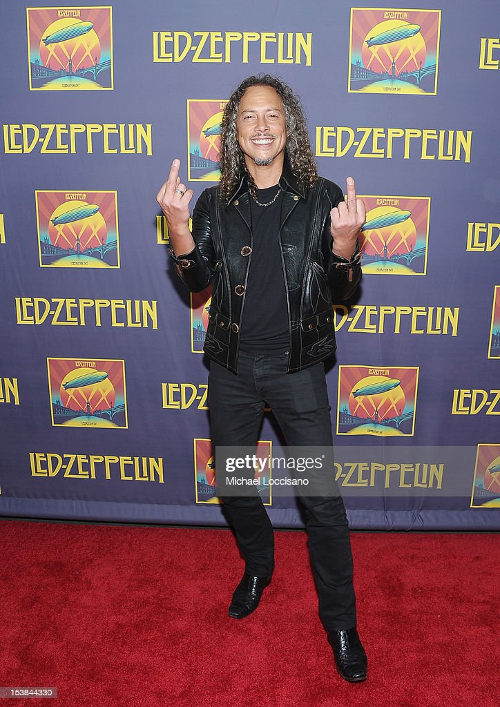 Musician Kirk Hammett attends the 'Led Zeppelin: Celebration Day' premiere at the Ziegfeld Theater on October 9, 2012 in New York City.