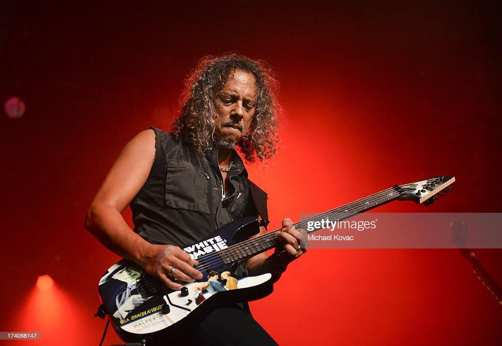 Musician Kirk Hammett of Metallica performs a secret concert in celebration of 'Metallica Through The Never' during ComicCon International 2013 at...