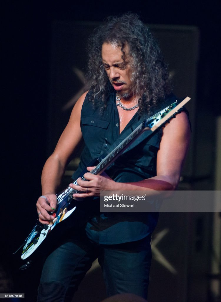 Musician <a gi-track='captionPersonalityLinkClicked' href=/galleries/search?phrase=Kirk+Hammett&family=editorial&specificpeople=204665 ng-click='$event.stopPropagation()'>Kirk Hammett</a> of Metallica performs at a private exclusive concert for SiriusXM listeners at The Apollo Theater on September 21, 2013 in New York City.