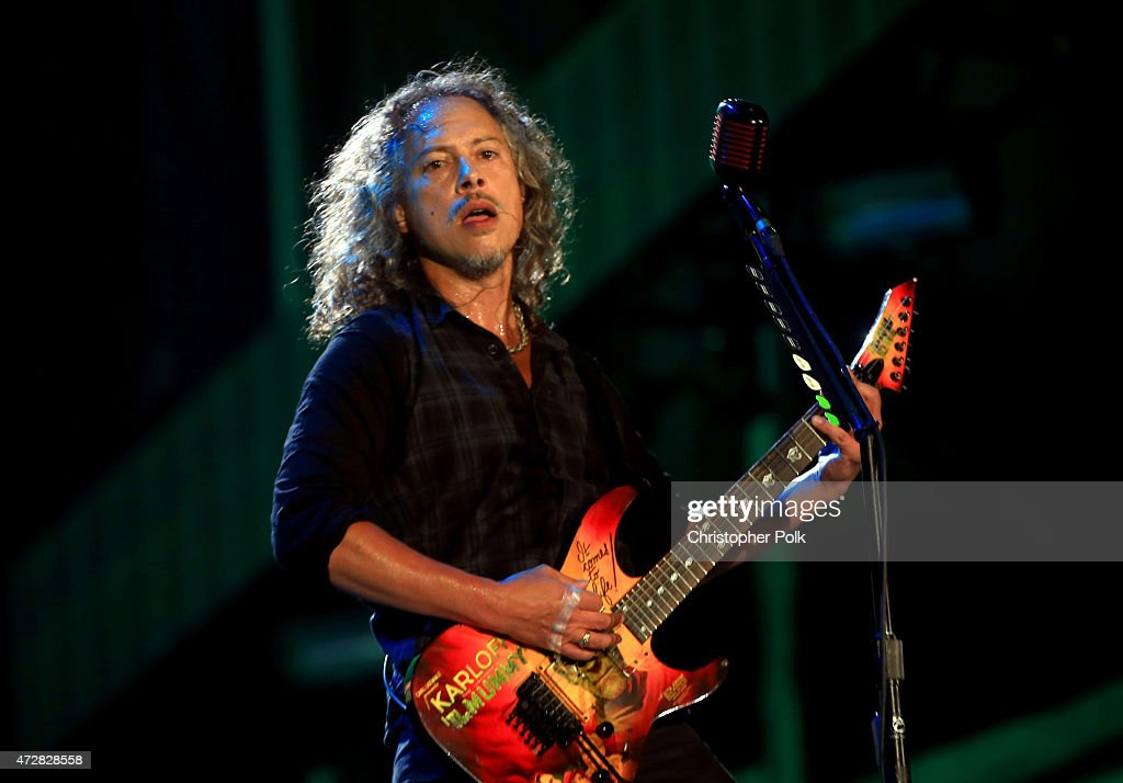 Musician Kirk Hammett of Metallica performs onstage during Rock in Rio USA at the MGM Resorts Festival Grounds on May 9 2015 in Las Vegas Nevada