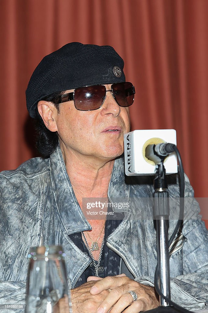 Musician <a gi-track='captionPersonalityLinkClicked' href=/galleries/search?phrase=Klaus+Meine&family=editorial&specificpeople=240345 ng-click='$event.stopPropagation()'>Klaus Meine</a> of rock band Scorpions attends a press conference at Nikko hotel on September 4, 2012 in Mexico City, Mexico.