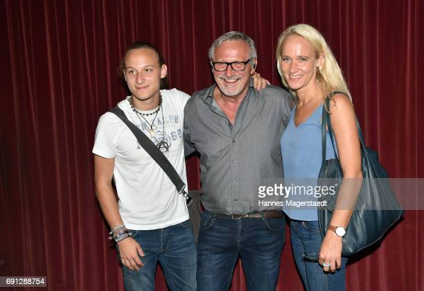 Musician Konstantin Wecker his wife Annik and their son Tamino during his 70th birthday at Circus Krone on June 1 2017 in Munich Germany