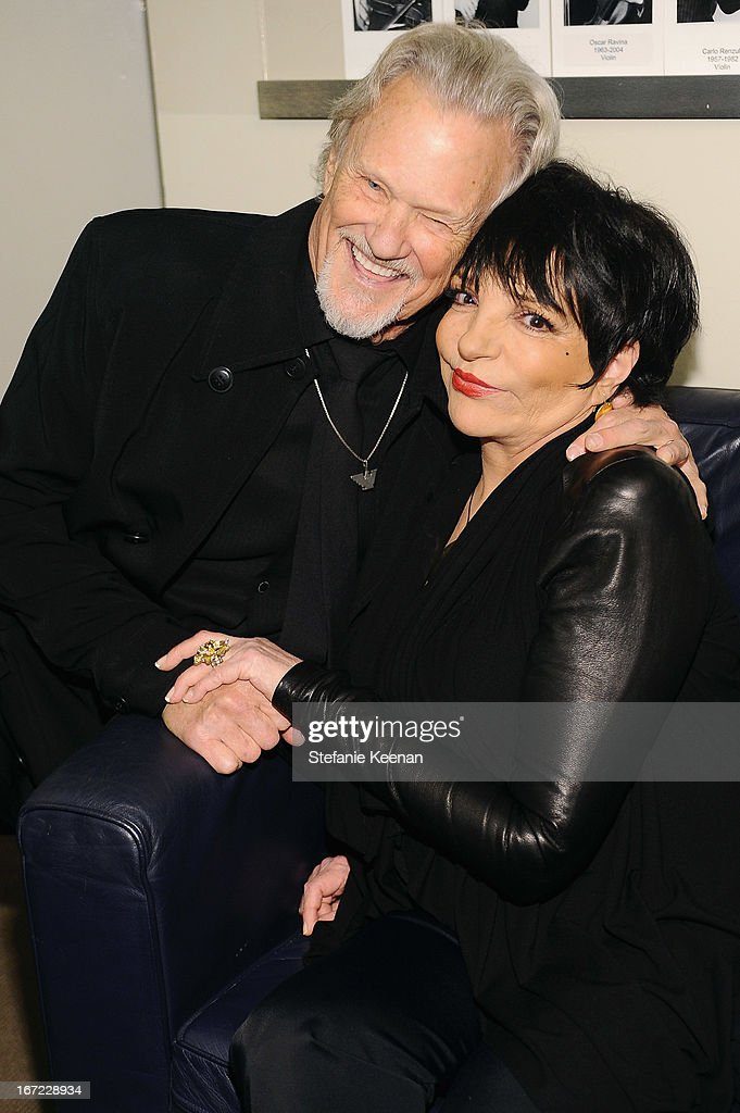 Musician <a gi-track='captionPersonalityLinkClicked' href=/galleries/search?phrase=Kris+Kristofferson&family=editorial&specificpeople=206202 ng-click='$event.stopPropagation()'>Kris Kristofferson</a> and <a gi-track='captionPersonalityLinkClicked' href=/galleries/search?phrase=Liza+Minnelli&family=editorial&specificpeople=121547 ng-click='$event.stopPropagation()'>Liza Minnelli</a> pose together at the Grey Goose cocktail reception of The Film Society of Lincoln Center's 40th Chaplin Award Gala at Avery Fisher Hall, Lincoln Center on April 22, 2013 in New York City.