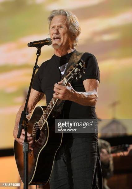 Musician Kris Kristofferson rehearses onstage during the 56th GRAMMY Awards at Staples Center on January 24 2014 in Los Angeles California