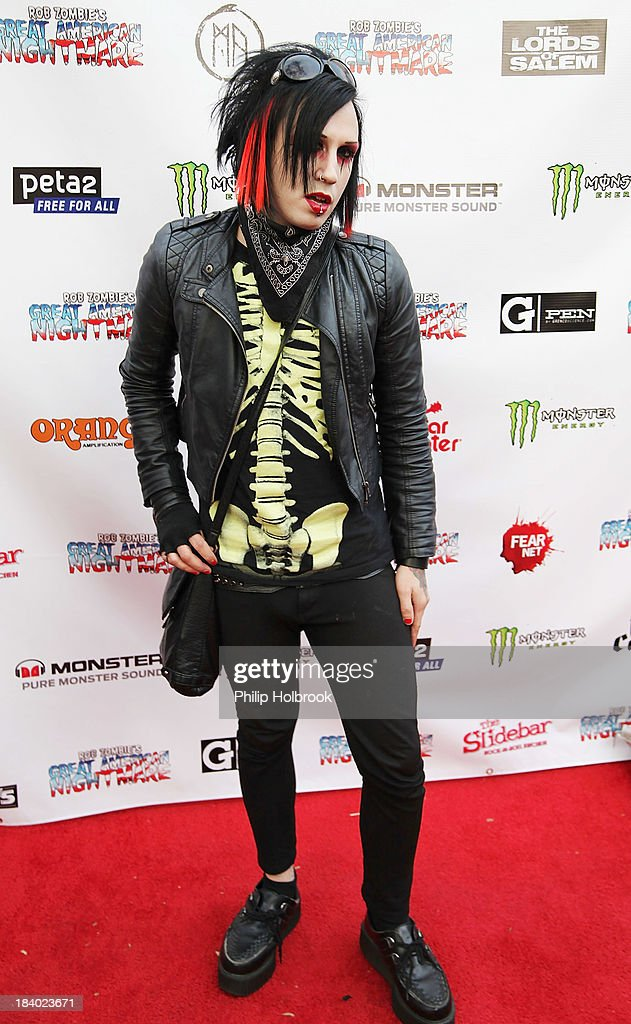 Musician Kristof Bathory of the band Dawn of Ashes arrives at the VIP opening night party at Rob Zombie's Great American Nightmare held at the Fairplex on October 10, 2013 in Pomona, California