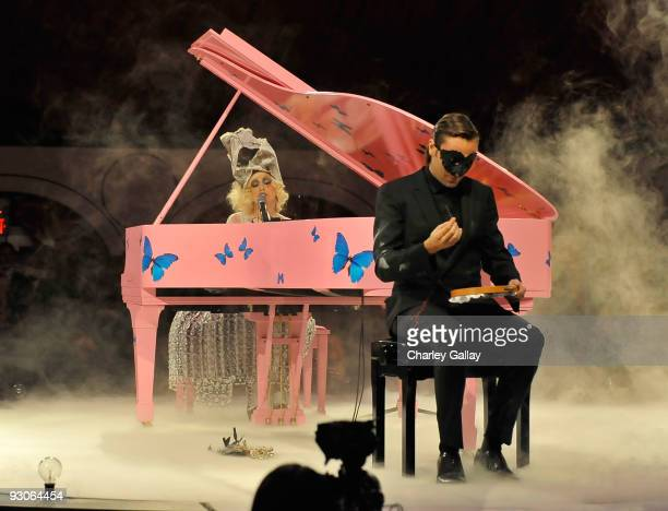 Musician Lady Gaga and artist Francesco Vezzoli perform during the MOCA NEW 30th anniversary gala held at MOCA on November 14 2009 in Los Angeles...