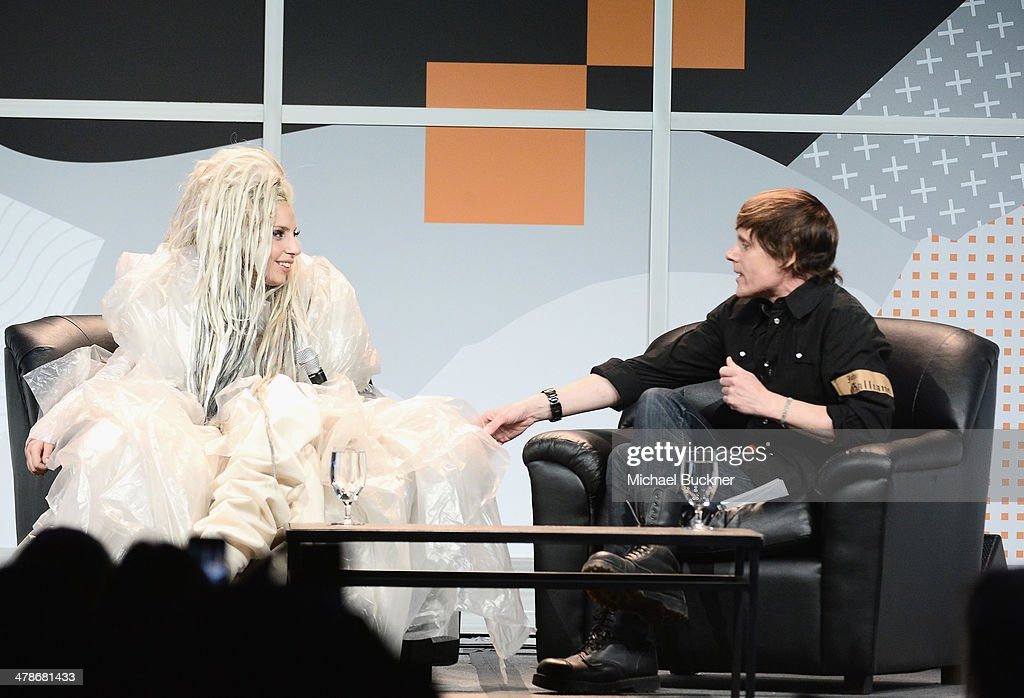 Musician Lady Gaga (L) and journalist John Norris speak at the 2014 SXSW Music, Film + Interactive Festival at the Hilton on March 14, 2014 in Austin, Texas.
