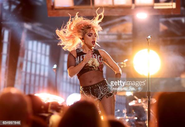 Musician Lady Gaga during The 59th GRAMMY Awards at STAPLES Center on February 12 2017 in Los Angeles California