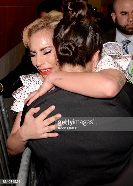Musician Lady Gaga hugs her sister Natali Germanotta backstage after the Pepsi Zero Sugar Super Bowl LI Halftime Show at NRG Stadium on February 5...