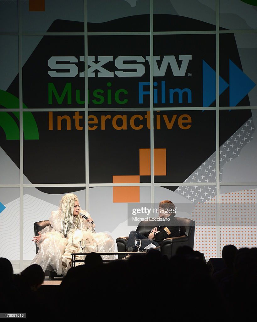 Musician Lady Gaga (L) journalist John Norris speak at the 2014 SXSW Music, Film + Interactive Festival at the Hilton on March 14, 2014 in Austin, Texas.