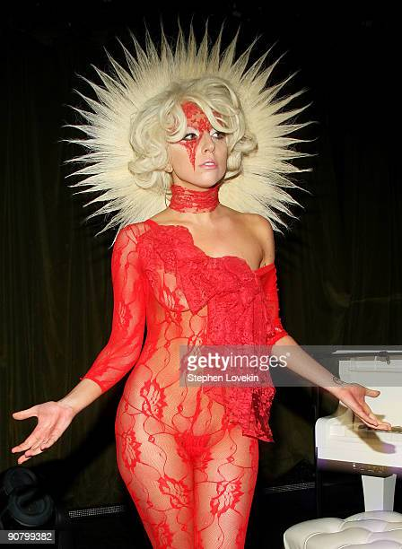 Musician Lady Gaga performs at the Lady Gaga and the launch of V61 hosted by V Magazine Marc Jacobs and Belvedere Vodka on September 14 2009 in New...