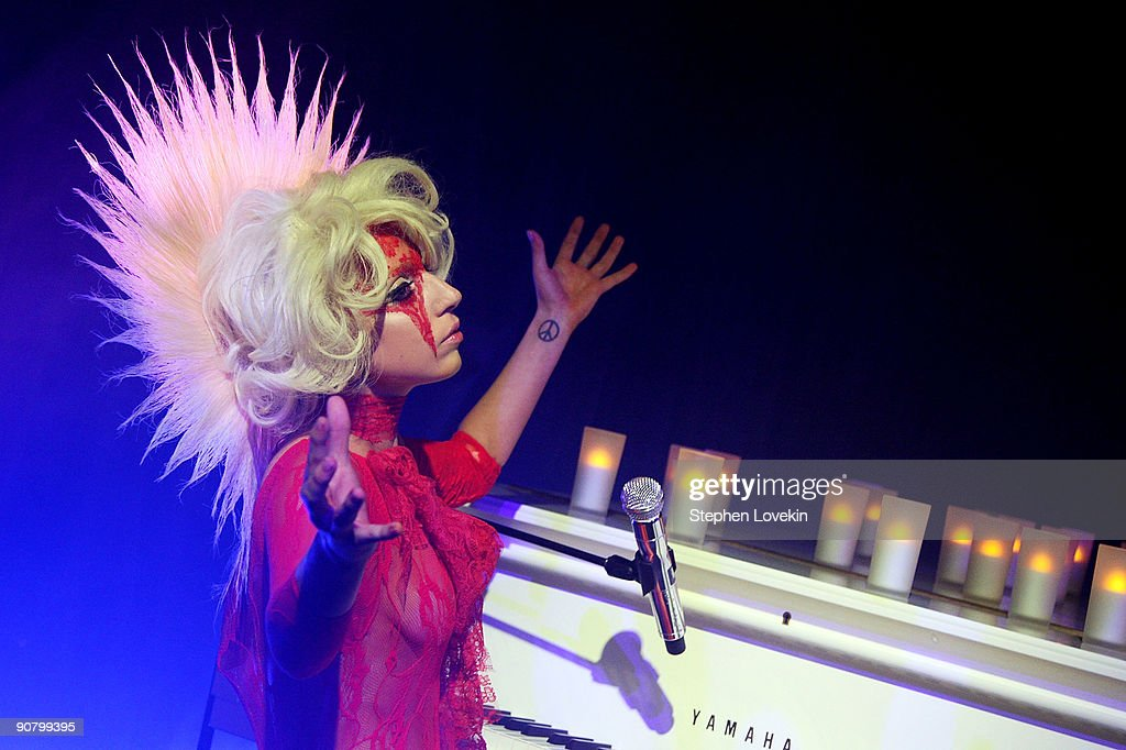 Musician <a gi-track='captionPersonalityLinkClicked' href=/galleries/search?phrase=Lady+Gaga&family=editorial&specificpeople=4456754 ng-click='$event.stopPropagation()'>Lady Gaga</a> performs at the <a gi-track='captionPersonalityLinkClicked' href=/galleries/search?phrase=Lady+Gaga&family=editorial&specificpeople=4456754 ng-click='$event.stopPropagation()'>Lady Gaga</a> and the launch of V61 hosted by V Magazine, Marc Jacobs and Belvedere Vodka on September 14, 2009 in New York City.
