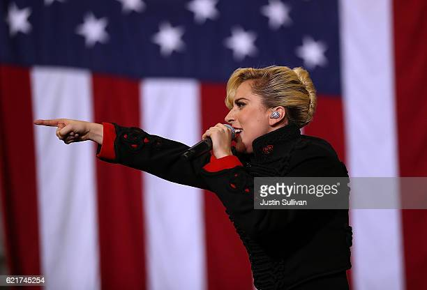Musician Lady Gaga performs during a campaign rally with Democratic presidential nominee former Secretary of State Hillary Clinton at North Carolina...