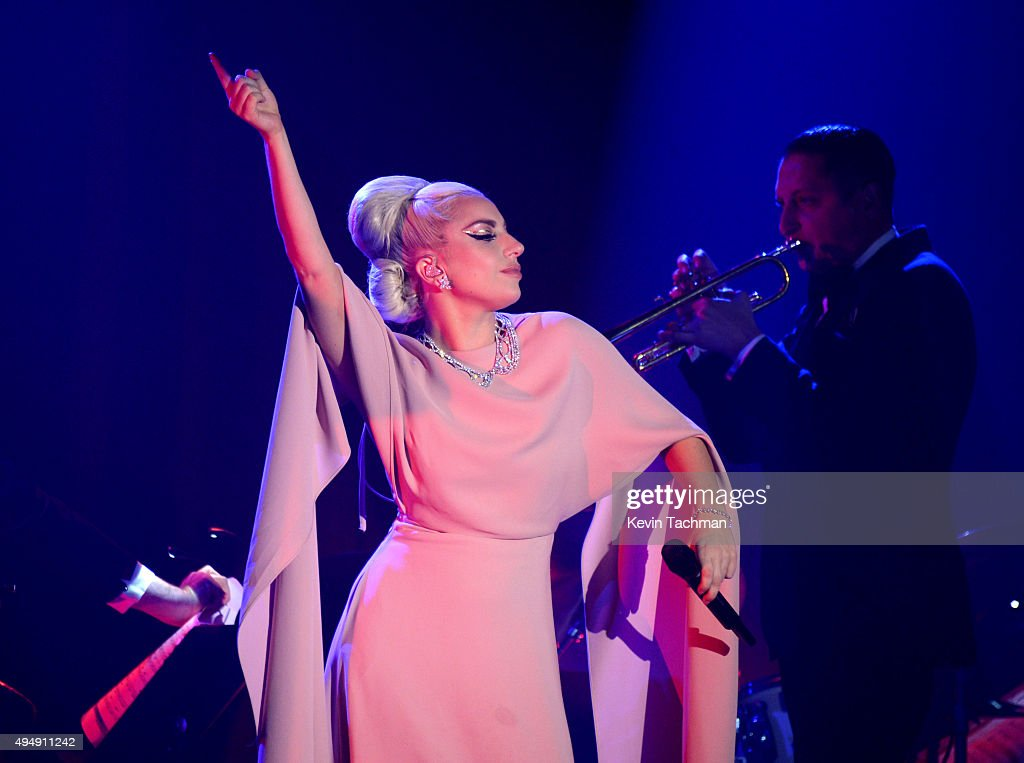 Musician Lady Gaga performs on stage at the amfAR Inspiration Gala at Milk Studios on October 29 2015 in Hollywood California