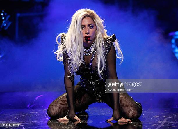 Musician Lady Gaga performs onstage at the iHeartRadio Music Festival held at the MGM Grand Garden Arena on September 24 2011 in Las Vegas Nevada
