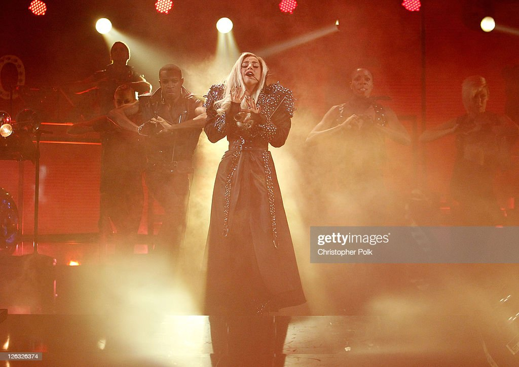 Musician <a gi-track='captionPersonalityLinkClicked' href=/galleries/search?phrase=Lady+Gaga&family=editorial&specificpeople=4456754 ng-click='$event.stopPropagation()'>Lady Gaga</a> performs onstage at the iHeartRadio Music Festival held at the MGM Grand Garden Arena on September 24, 2011 in Las Vegas, Nevada.