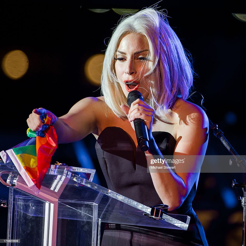 Musician <a gi-track='captionPersonalityLinkClicked' href=/galleries/search?phrase=Lady+Gaga&family=editorial&specificpeople=4456754 ng-click='$event.stopPropagation()'>Lady Gaga</a> sings the Star-Spangled Banner at The Rally during NYC Pride 2013 on June 28, 2013 in New York City.