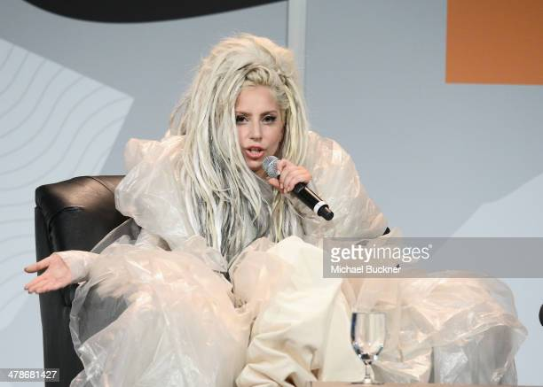 Musician Lady Gaga speaks at the 2014 SXSW Music Film Interactive Festival at the Hilton on March 14 2014 in Austin Texas
