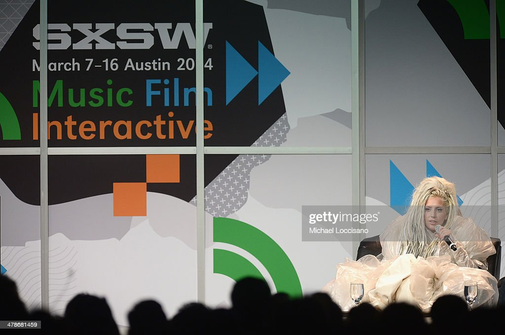 Musician <a gi-track='captionPersonalityLinkClicked' href=/galleries/search?phrase=Lady+Gaga&family=editorial&specificpeople=4456754 ng-click='$event.stopPropagation()'>Lady Gaga</a> speaks at the 2014 SXSW Music, Film + Interactive Festival at the Hilton on March 14, 2014 in Austin, Texas.