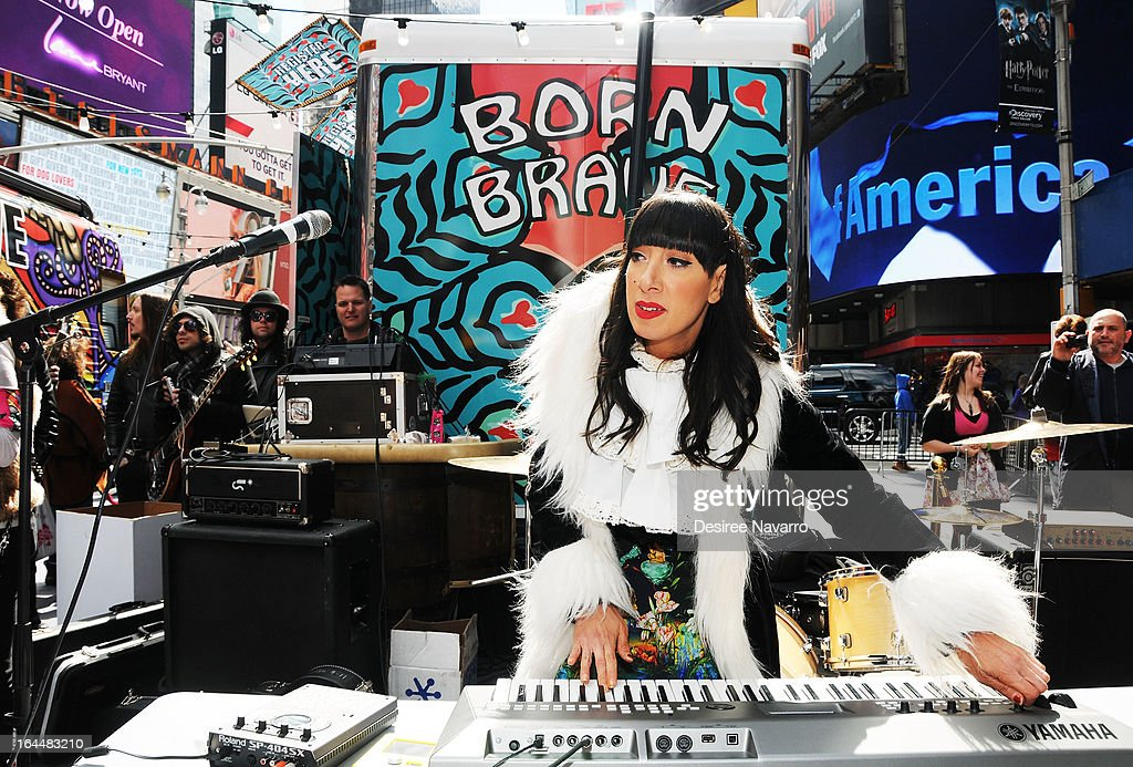 Musician <a gi-track='captionPersonalityLinkClicked' href=/galleries/search?phrase=Lady+Starlight&family=editorial&specificpeople=5791142 ng-click='$event.stopPropagation()'>Lady Starlight</a> performs at Lady Gaga's Born Brave Bus Tour at Times Square on March 23, 2013 in New York City.